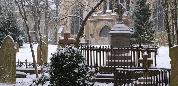The Churchyard in the snow